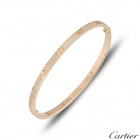Cartier Rose Gold Pave Diamond SM Love Bracelet Size 19 N6710719